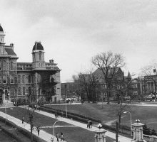 Archive image of Hall of Languages with main entrance to campus