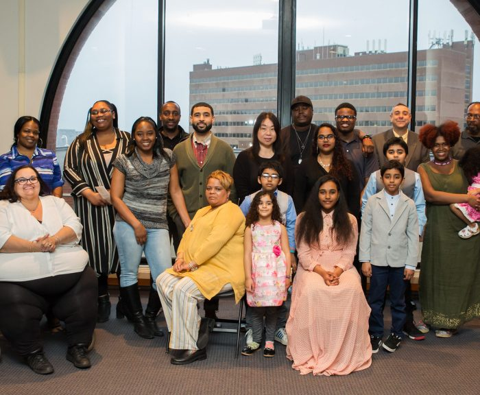 HEOP academic award recipients with their families at the recent awards ceremony in the Schine Student Center.