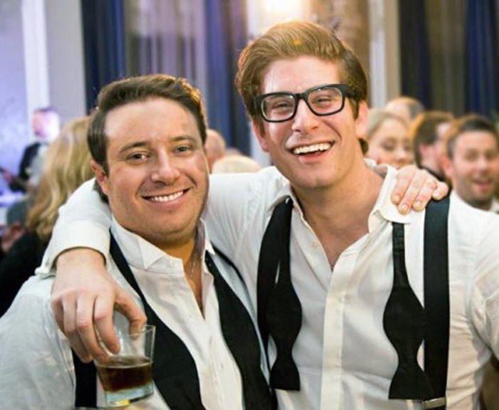 Ryan Fishman and Alex Redlus at Fishman's wedding in 2016